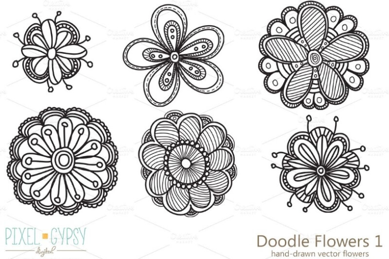 contoh gambar doodle bunga