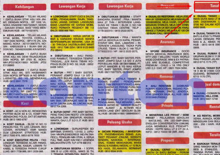 Contoh Iklan Baris Penjualan Tanah
