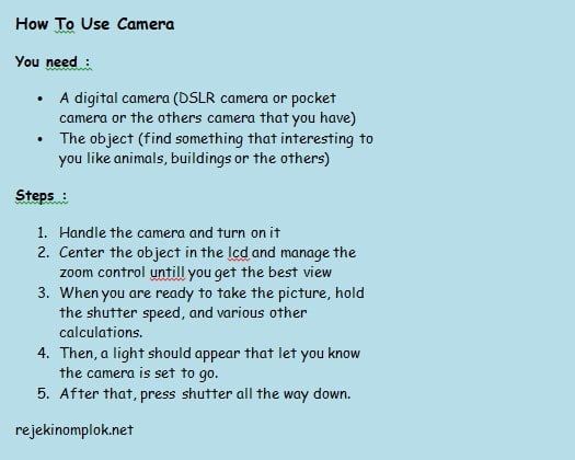 contoh procedure text how to use